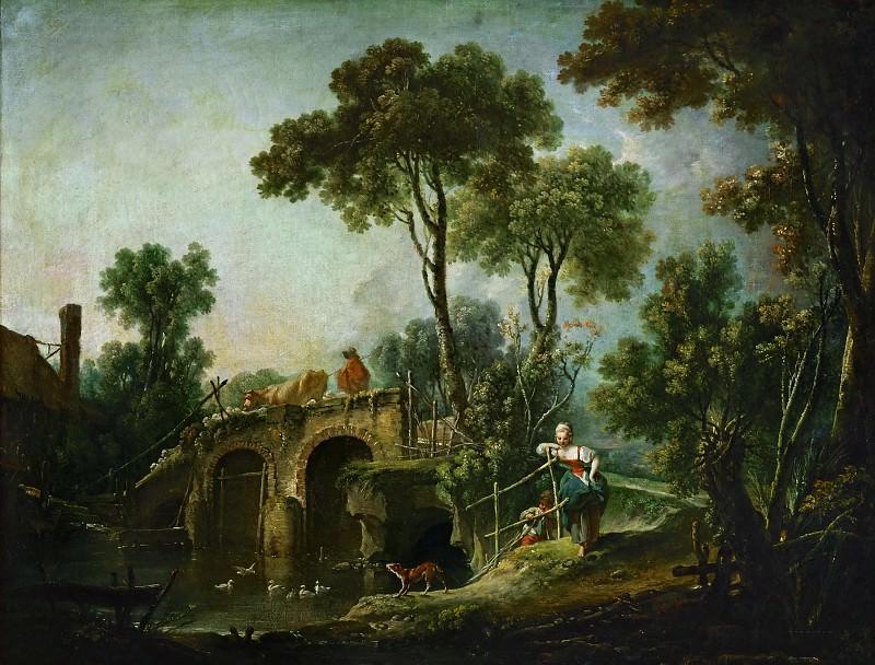 Landscape with Bridge. Francois Boucher