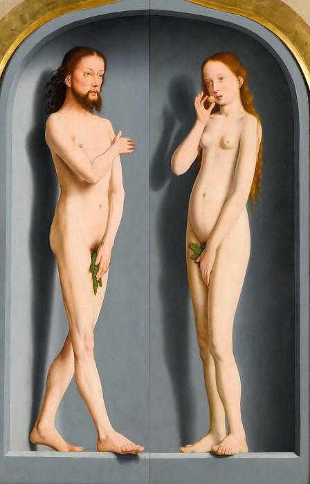 Давид, Герард (ок1460 Аудеватер - 1523 Брюгге) -- Триптих семьи Седано, закрытый, Адам и Ева. часть 1 Лувр