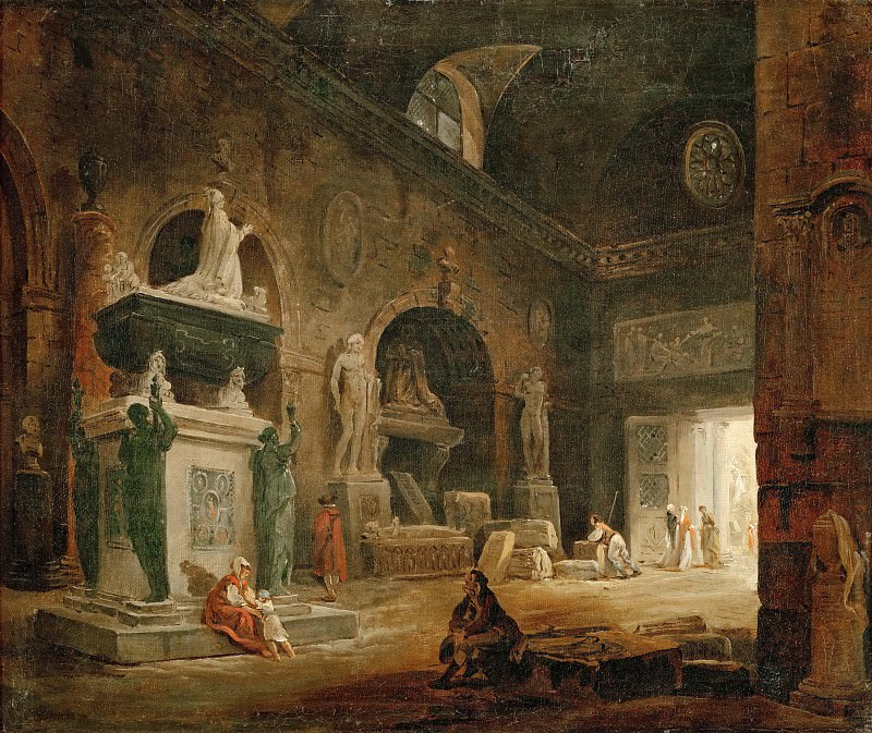 Robert, Hubert -- Vue d'une salle du Musee des Monuments Francais-view of a hall of the Museum of French Monuments. After 1798. Canvas, 38, 5 x 47 cm R.F.1952-32. Part 1 Louvre