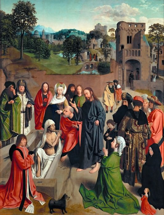 Geertgen tot Sint Jans -- Resurrection of Lazarus. Part 1 Louvre