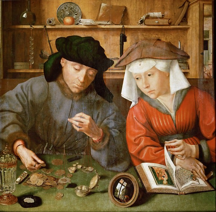 Quinten Metsys -- The Money Lender and his Wife. Part 1 Louvre