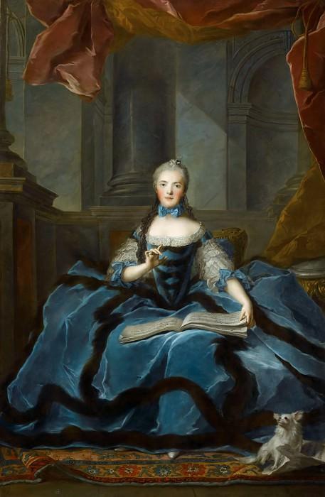 Jean-Marc Nattier -- Madame Adélaïde (1732-1799) daughter of Louis XV holding a book of music. Part 1 Louvre