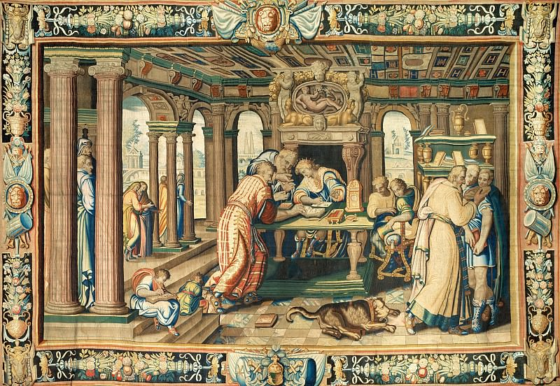 Antoine Caron (1521-1599), designer; woven at the Atelier du Faubourg Saint Marcel, Paris -- Tapestry Illustrating The Legend of Artemisia: Instruction of the Young King. Part 1 Louvre
