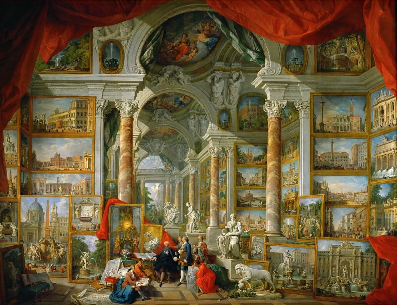 Giovanni Paolo Panini -- Gallery with views of modern Rome. Part 1 Louvre
