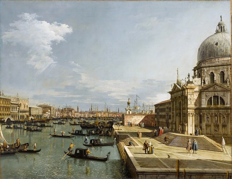 Каналетто (Венеция 1697-1768) -- Венеция - Большой канал с Санта Мария делла Салюте. часть 1 Лувр