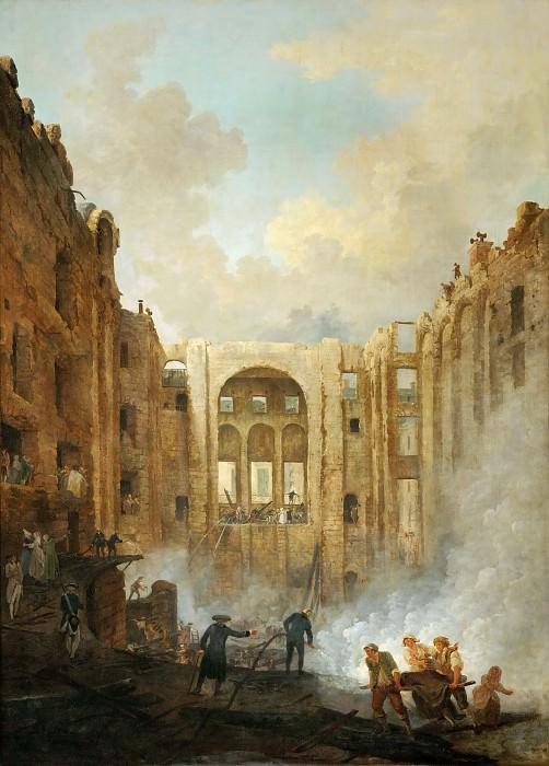 Robert, Hubert -- L'incendie de l'Opera au Palais Royal en 1781-The fire at the operahouse in the Palais Royal, 1781. Canvas, 171 x 126 cm M.N.R. 95. Part 1 Louvre
