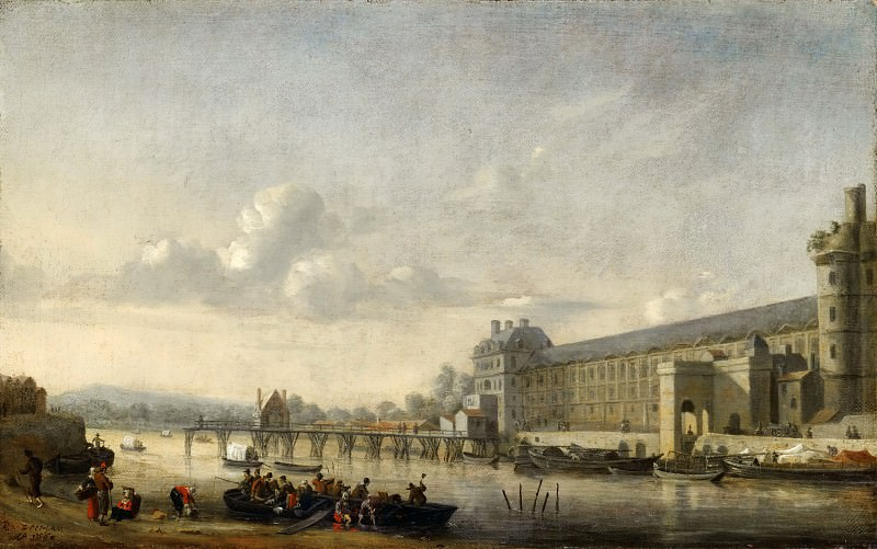 Reinier Nooms -- View of the Seine with the south facade of the Grand Gallery of the Louvre. Part 1 Louvre