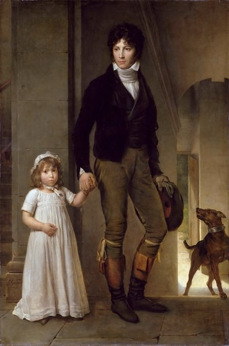 Baron François Gérard -- Portrait of the Painter Jean-Baptiste Isabey and his Daughter Alexandrine. Part 1 Louvre