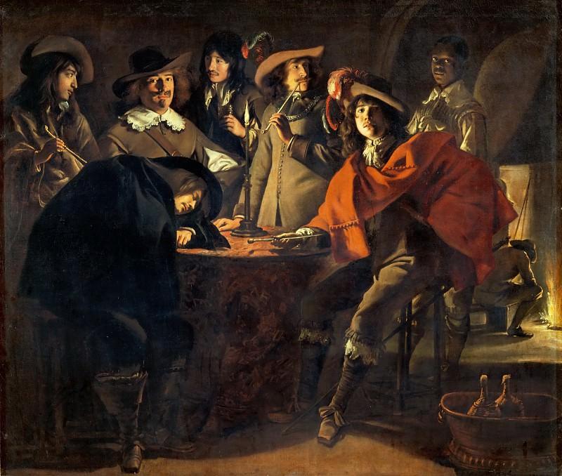 Antoine Le Nain (c. 1588-1648), Louis Le Nain (c. 1593-1648) or Mathieu Le Nain (1607-1677) -- Company of Smokers, or The Guards. Part 1 Louvre
