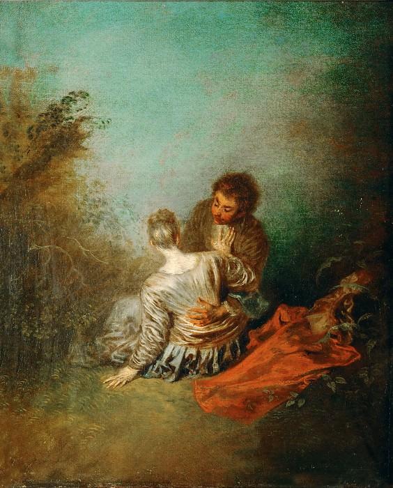 Watteau, Antoine -- Le Faux Pas. Oil on canvas 40 x 31.5 cm MI 1127. Part 1 Louvre