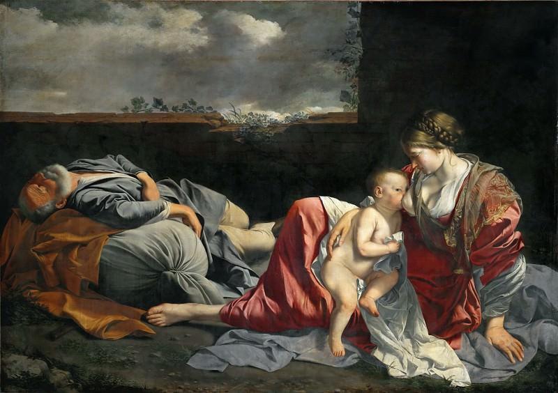 Джентилески, Орацио (1562 Пиза - 1647 Лондон) -- Отдых на пути в Египет. часть 1 Лувр