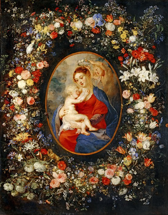 Brueghel, Jan the Elder, Velvet-BrueghelLa Vierge, l'enfant Jesus et des anges au milieu d'une guirlande de fleurs. Medaillon Rubens. Canvas, 83, 5 x 65 cm INV 1764 -- Louvre, Departement des Peintures, Paris, France. Part 1 Louvre
