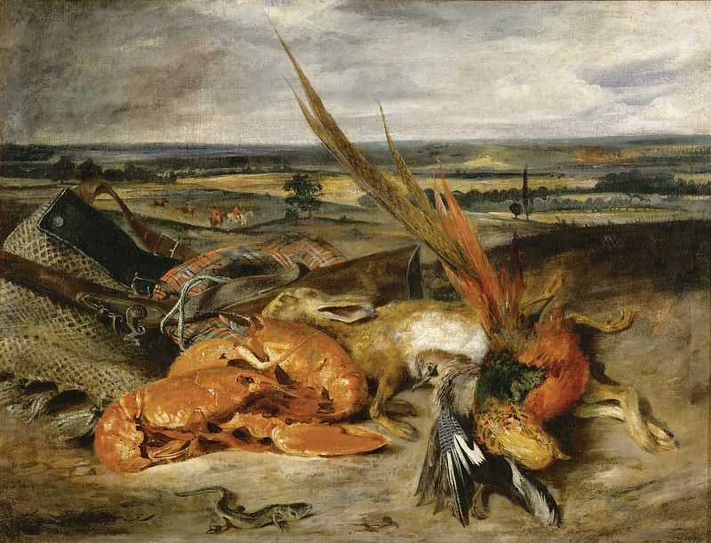 Делакруа, Эжен (1798 Шарантон-Сен-Морис - 1863 Париж) -- Натюрморт с омаром. Part 1 Louvre