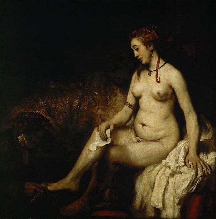 Рембрандт Харменс ван Рейн (1606 Лейден - 1669 Амстердам) -- Вирсавия в купальне, читающая письмо короля Давида. часть 1 Лувр