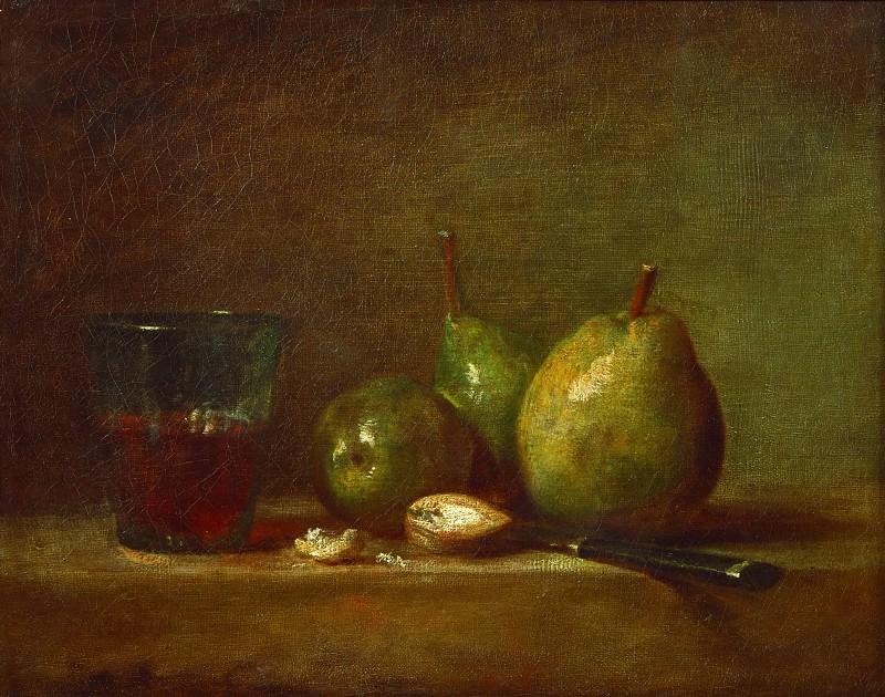 Шарден, Жан-Батист-Симеон (Париж 1699-1779) -- Груши, грецкие орехи и стакан вина. Part 1 Louvre