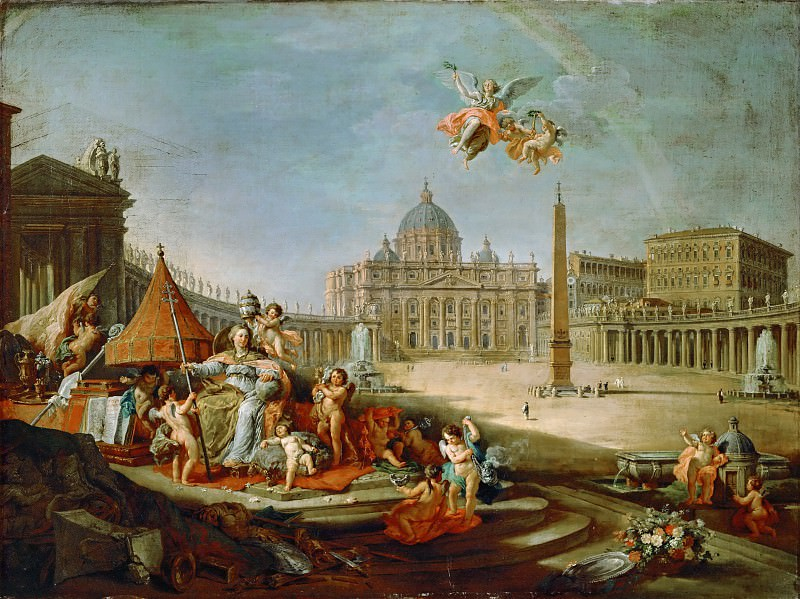 Giovanni Paolo Panini -- St. Peter's Square with Allegory of the Papacy.. Part 1 Louvre