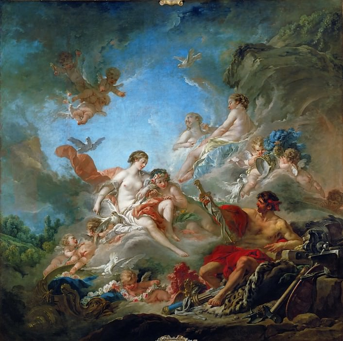 François Boucher -- Vulcan Presenting Venus with Arms for Aeneas. Part 1 Louvre