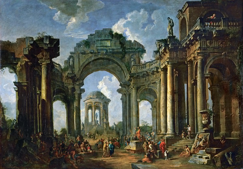 Giovanni Paolo Panini -- Sermon of an Apostle in the ruins of an architecture in Doric style. Part 1 Louvre