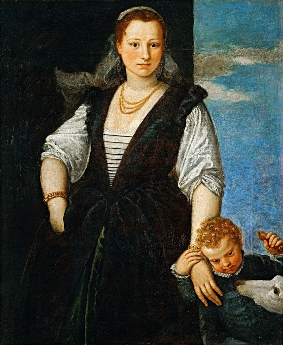 Paolo Veronese -- Portrait of a Woman with a Child and a Dog. Part 1 Louvre