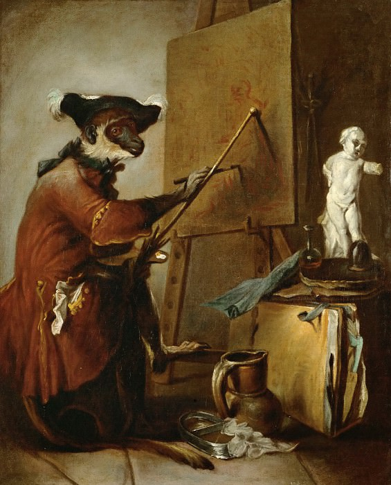 Chardin, Jean-Baptiste Simeon -- Le singe peintre-the monkey as painter. 1740 Canvas, 73 x 59, 5 cm M.I. 1033. Part 1 Louvre