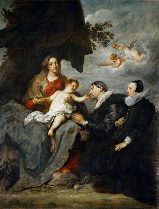 Anthony van Dyck -- Virgin and Child Adored by a Married Couple. Part 1 Louvre