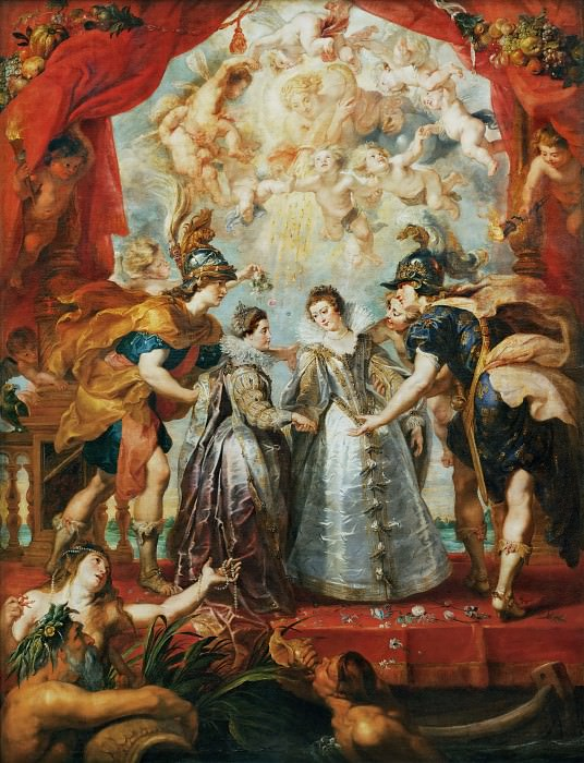 Peter Paul Rubens -- Medici Cycle: Exchange of Two Princesses from France and Spain upon the Bidassoa at Hedaye, November 9, 1615. Peter Paul Rubens