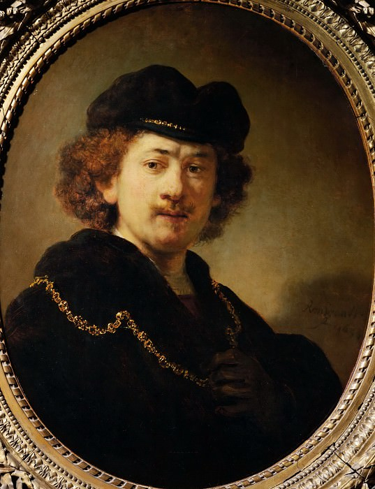 Рембрандт Харменс ван Рейн (1606 Лейден - 1669 Амстердам) -- Автопортрет с золотой цепью. Part 1 Louvre