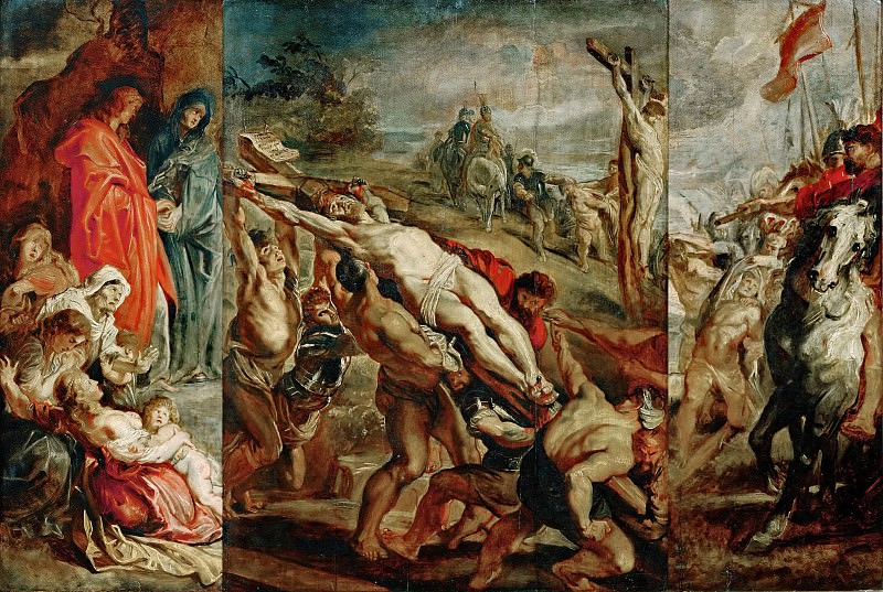 Rubens, Peter Paul -- The Elevation of the Cross, sketch for the triptych painted in 1609-1610 for the church in St.Walburg in Antwerp, now in the Antwerp Cathedral. Wood, 68 x 107 cm (center 52, right 27, 5 and left 26 cm) M.N.R.411. Part 1 Louvre