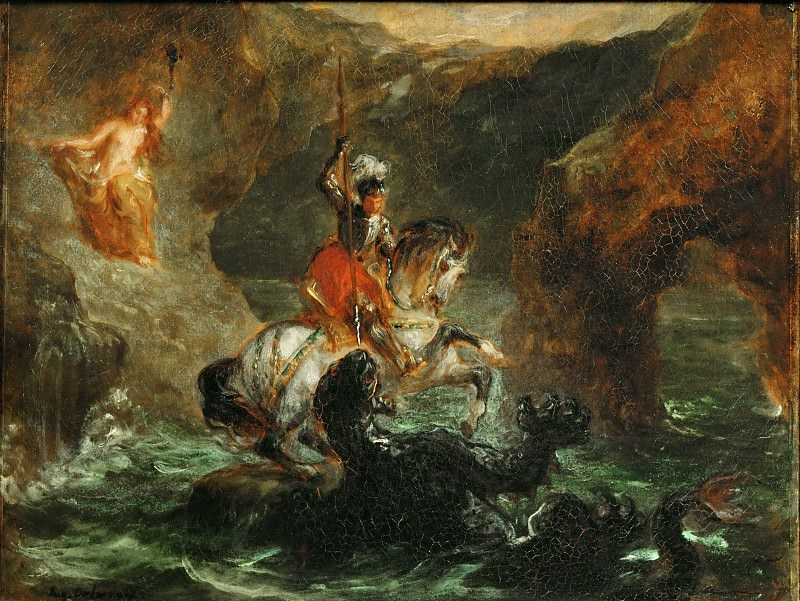 Delacroix, Eugene -- Saint Georges combattant le dragon, dit aussi Persee delivrant Andromede-Saint George fighting the dragon, also called Perseus delivering Andromeda. Paper on Canvas, 28 x 36 cm R.F. 1396. Part 1 Louvre
