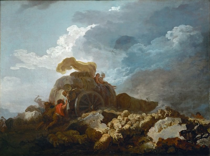 Fragonard, Jean-Honore -- L'orage, dit aussi La charette embourbee-Thunderstorm, or the cart stuck in the mud 1759? Canvas, 73 x 97 cm M.I. 1063. Part 1 Louvre
