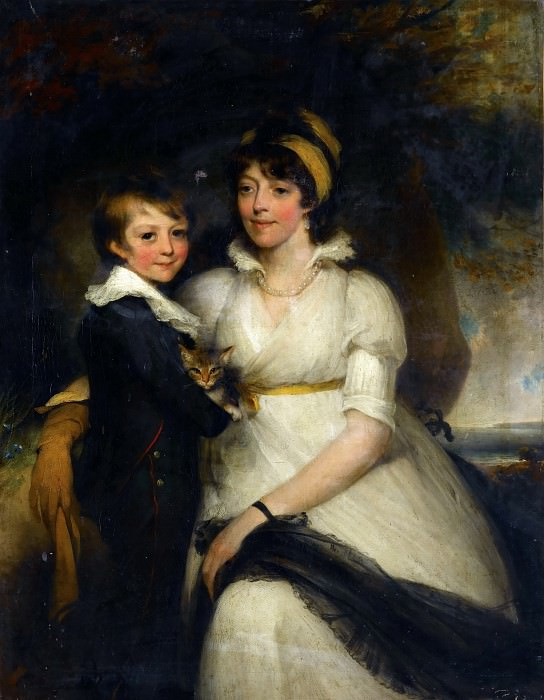 Attributed to John Hoppner -- Young Woman and a Boy Holding a Cat. Part 1 Louvre