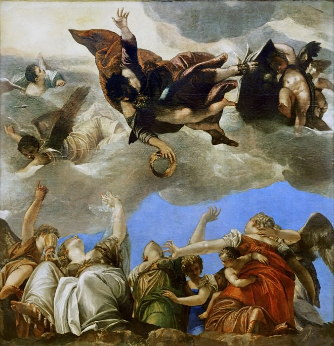Paolo Veronese -- Saint Mark rewarding the Theological Virtues.. Part 1 Louvre