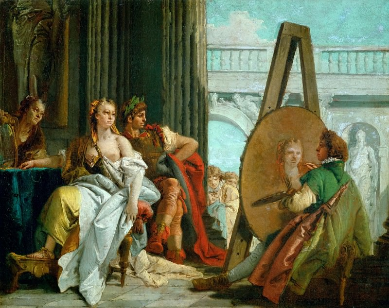 Tiepolo, Giovanni Battista -- The painter Apelles, Alexander the Great and Campaspe. Alexander gives his lover Campaspe to the painter. The King believes that Apelles, as an artist, is more able to appreciate Campaspe's beauty. Canvas, 42 x 54 cm MNR. 305. Part 1 Louvre