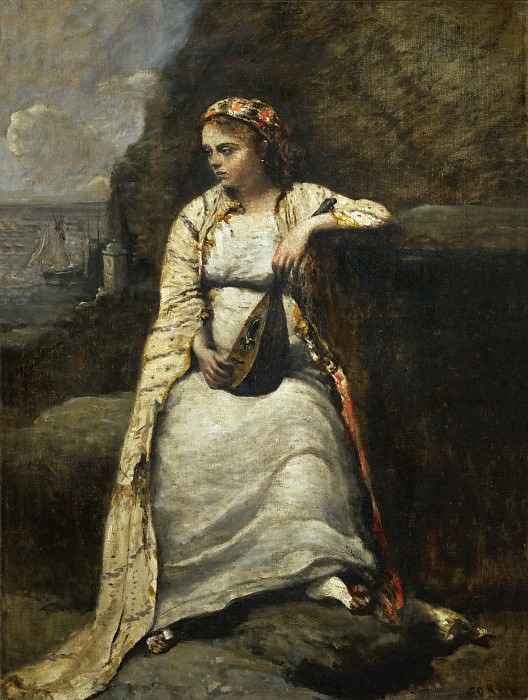 Corot, Jean-Baptiste Camille -- Haydee, jeune femme en costume grec-young woman in Greek costume, perhaps the heroine of Byron's Don Juan. Canvas, 60 x 44 cm R.F. 1965-5. Part 1 Louvre