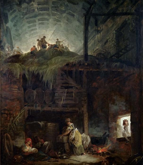 Robert, Hubert -- La grange, 1760. Canvas, 69 x 59 cm RF 1961-74. Part 1 Louvre