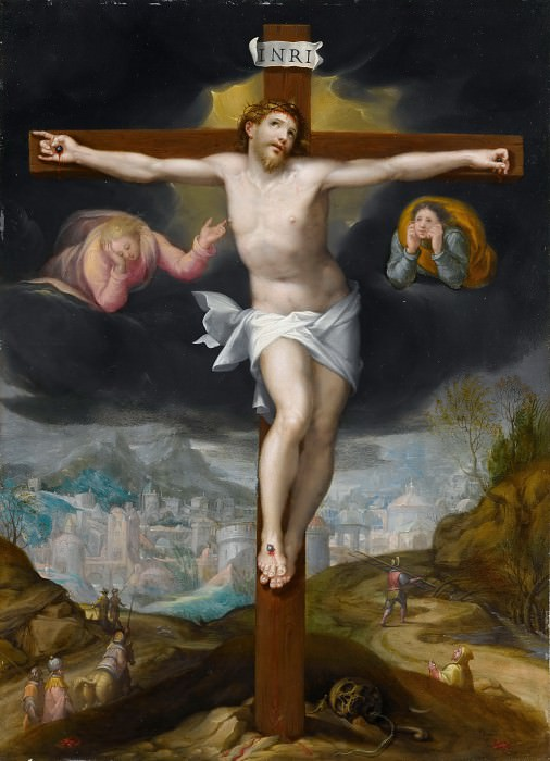 Gillis Mostaert -- Christ on the Cross between two angels. Part 1 Louvre