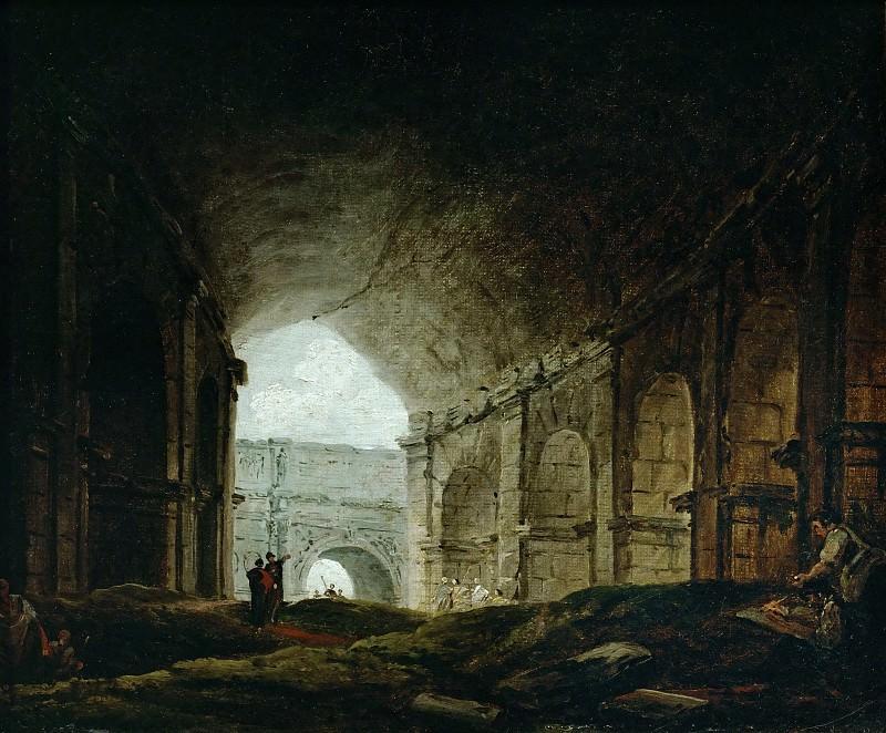 Robert, Hubert -- Interior of the Colosseum, Rome. Canvas, 24, 5 x 32 cm R.F. 2959. Part 1 Louvre