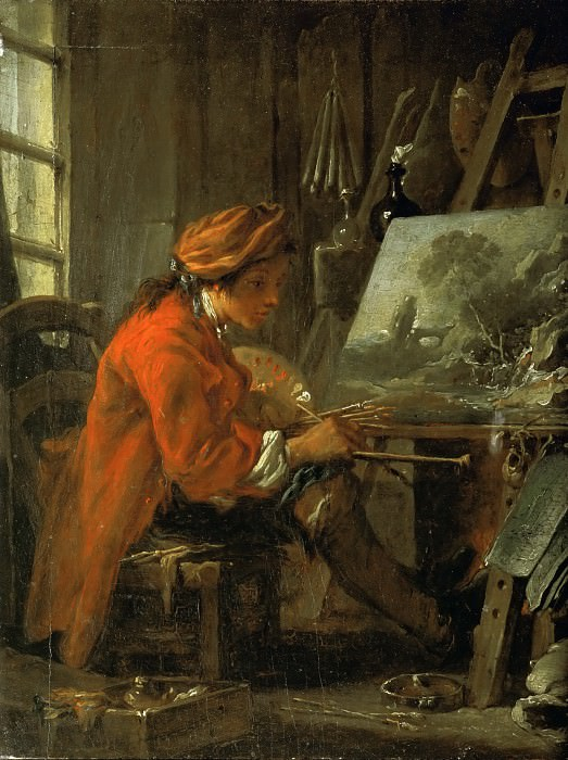 François Boucher -- The Painter in his Studio. Part 1 Louvre