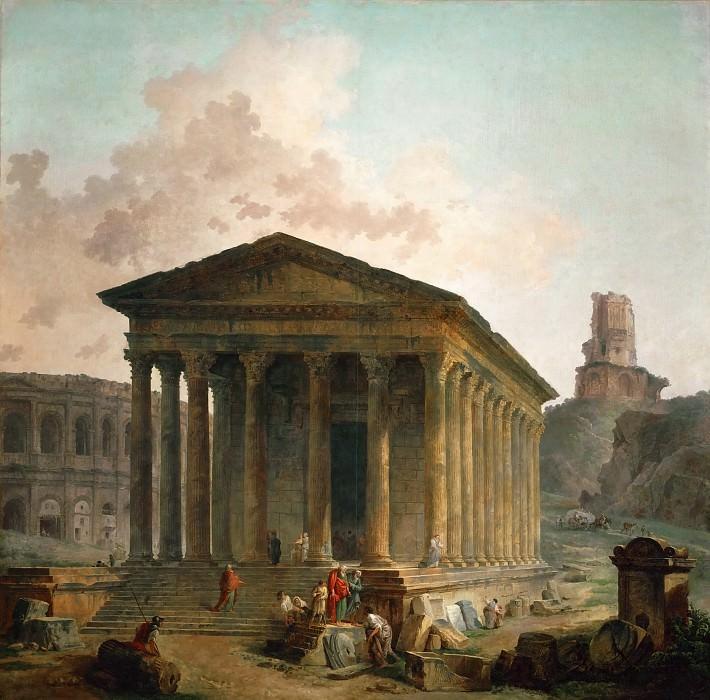 Робер, Юбер (Париж 1733-1808) -- Мезон Карре, амфитеатр и башня Мань в Ниме. Part 1 Louvre