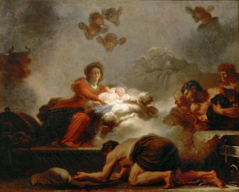 Фрагонар, Жан-Оноре (1732 Грасс - 1806 Париж) -- Поклонение пастухов. часть 1 Лувр