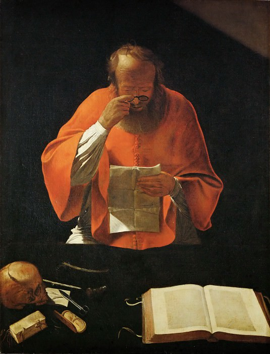 La Tour, Georges de -- Saint Jerome lisant-Saint jerome reading. Copy of a lost original. Canvas, 122 x 93 cm R.F. 3928. Part 1 Louvre