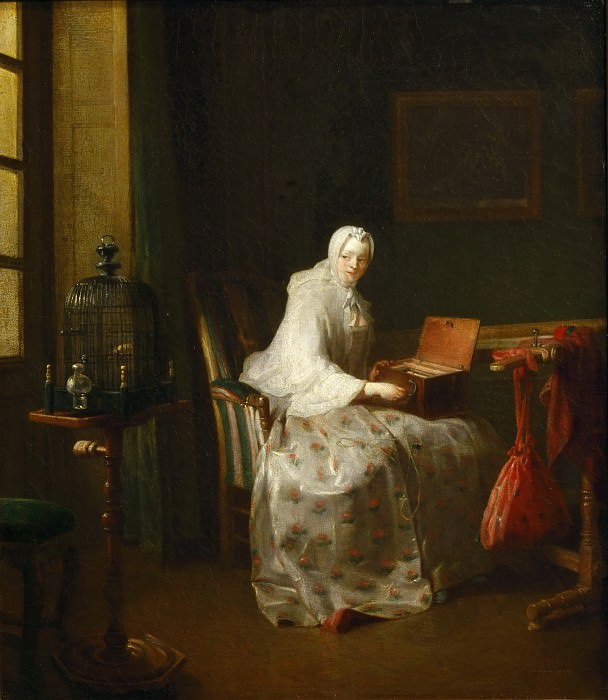 Chardin, Jean-Baptiste Simeon -- La serinette, dit aussi Dame variant ses amusements-a serinette (bird-organ) is a small mechanical organ used to teach birds to sing; also: Lady with a variety of amusements. Canvas, 50 x 43 cm R.F. 8510. Part 1 Louvre