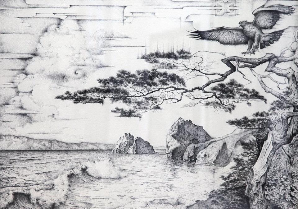 Нарисованные черно белые картинки природы, открытки добрым утром