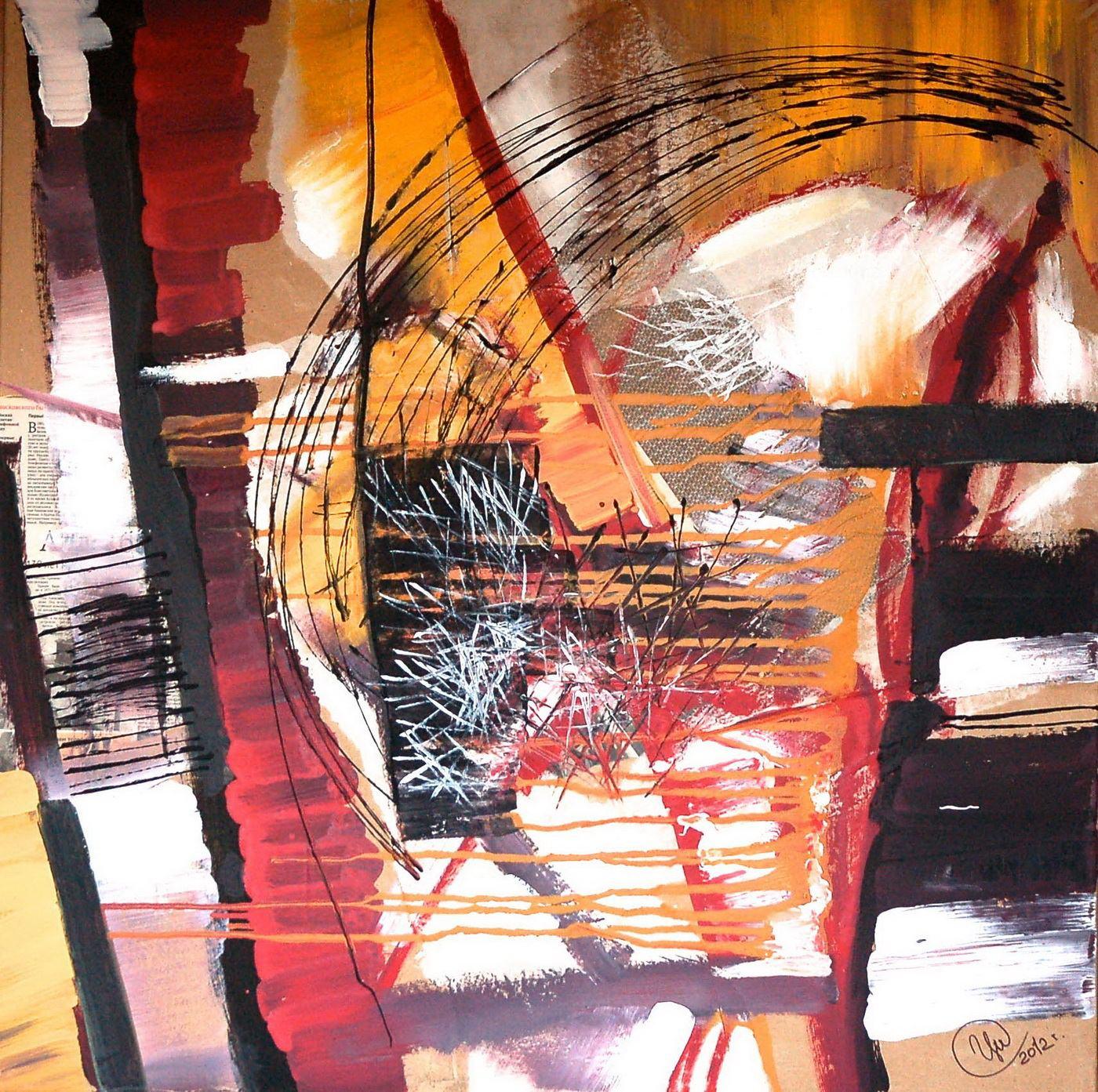 Евгений Ципулин. Координаты звука, диптих, часть -2, 2012. Холст, акрил, 100х100 Courtesy of the East Meets West Gallery