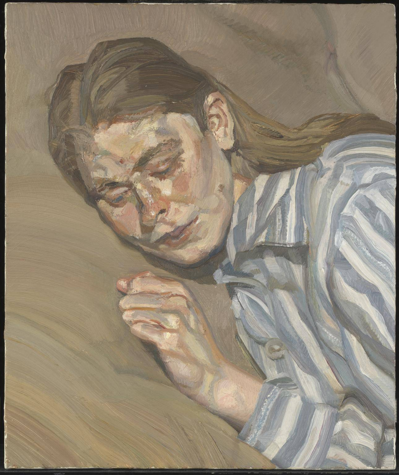 Люсьен Фрейд. Девушка в полосатой пижаме, 1983-1985. Масло, Холст. Галерея Тейт