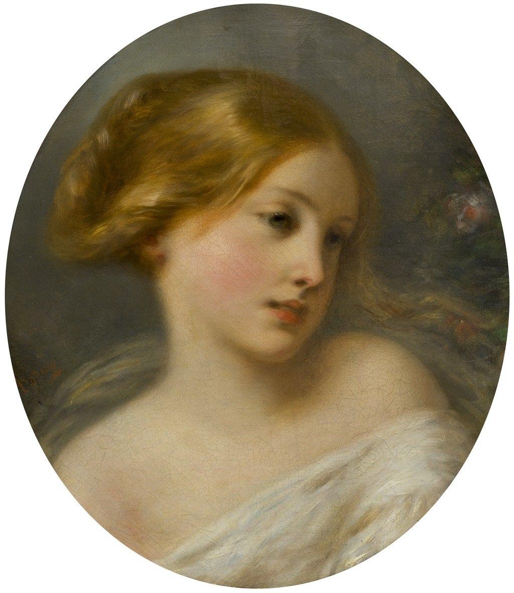 Дедре-Дорси. Женская головка, овал. XIX в. Холст, масло