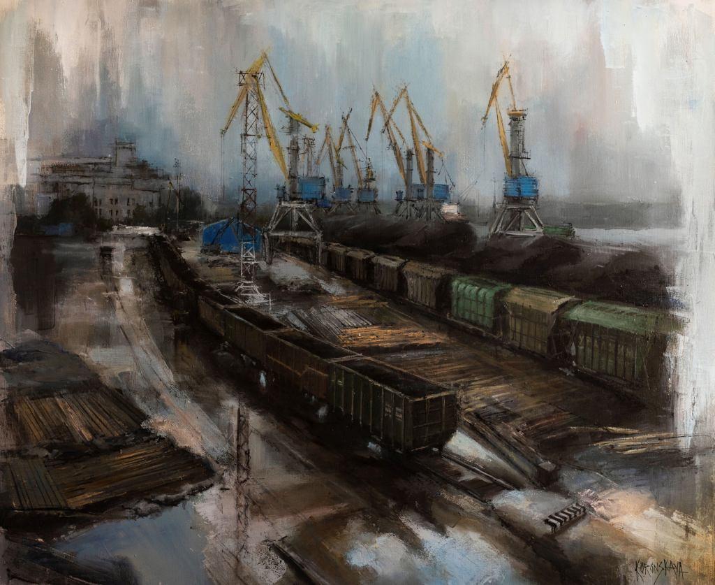 Выборг. Порт 100.120 см Анастасия Коронская