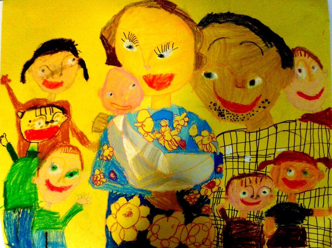 Моисеева Евгения 6 лет. Моя семья, бумага, фломастеры. изостудия Радуга, худ.рук. Мелихова Лариса Анатольевна