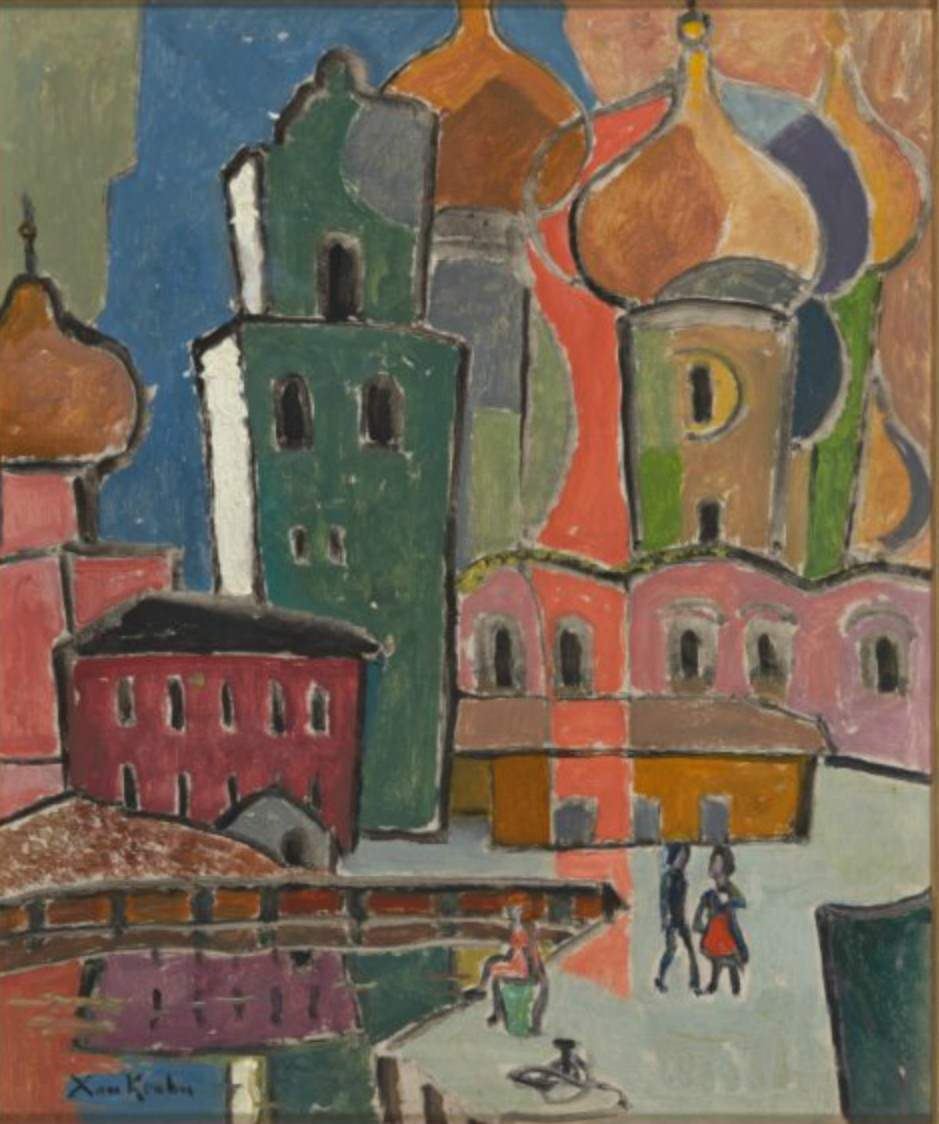 Ксан Крон. Церковь в Киеве, 65х54, 1930-е, оргалит, масло