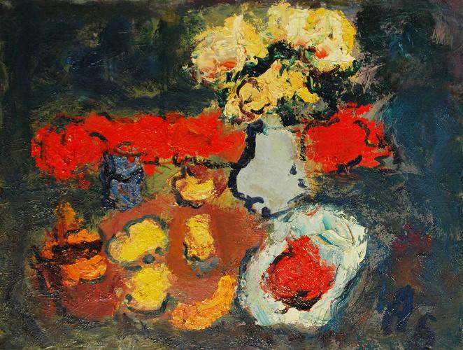 Арон Бух. Натюрморт с голубой вазой. 2001. Холст, масло, 70х90
